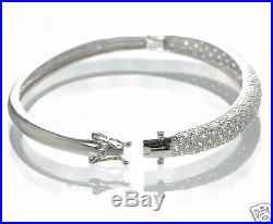 Solid 925 Sterling Silver Lab Simulated Diamond Hinged Bangle Bracelet