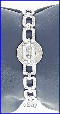 Solid 925 Sterling Silver SWAROVSKI Cubic CZ Tennis Cocktail Bracelet 9MM Heavy