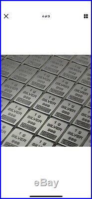 Solid. 999 Pure Silver 1g Bars combi Pack x100 Bars Valcambi Suisse