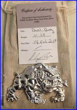 Solid. 999 Silver English Bull Dog