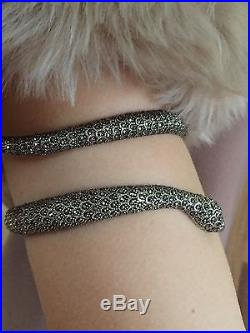 Solid Silver 925 Art Deco Marcasite Snake Slave Bangle With Ruby Eyes