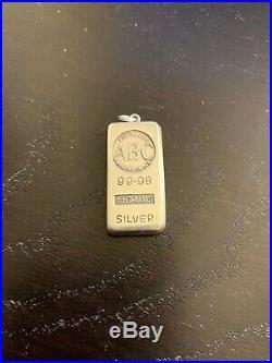 Solid Silver ABC bullion Ingot Bar Pendant 15gm ULTRA RARE