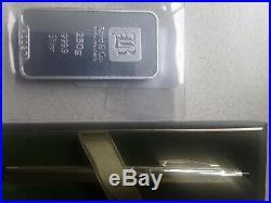 Solid Silver Bar 250g Baird&Co + a Cross 10kt rolled gold fountain pen 14ct nib