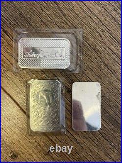 Solid Silver Bars x3 999 Silver, 1oz Silver, Fine Silver, Batersea London