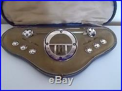Solid Silver Enamel Set. Buckle, Hat Pins and Buttons. 1912 Birmingham