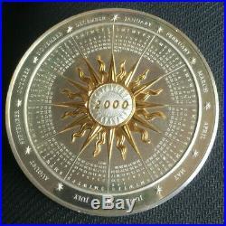 Solid Silver, Gold & Platinum 2000 Millenium Calander Coin 7.4oz. 209 grams