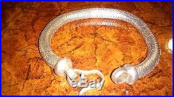 Solid Silver Herringbone Rope Chain Bracelet Round Thick and Heavy