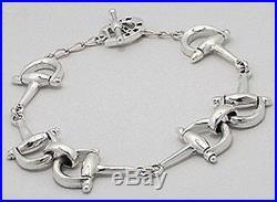 Solid Sterling Silver 14mm Bell Stirrup Horse Lovers Link Bracelet 7 Equestrian
