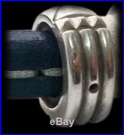 Solid Sterling Silver Atlantis Ring Blue Leather Bracelet Cuff Anillo Atlante