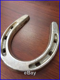 Solid Sterling Silver Bar Lucky Horseshoe. 925 Heavy 168.60 Grams