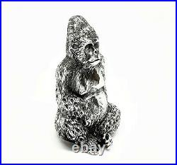 Solid Sterling Silver Bullion Gorilla Figure Hallmarked UK
