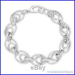 Solid Sterling Silver Diamond-Cut Link Italian Chain Women's Bracelet. 925 Italy