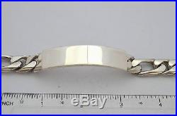 Solid Taxco Mexican 925 Sterling Silver ID Bracelet withFigaro Chain. 88g. 8.5