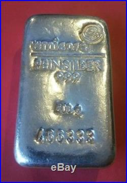 Solid silver bar 500g umicore