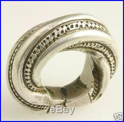 Solid silver vintage Fulani ring. African Tribal