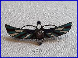 Solid sterling silver Art Deco antique Egyptian winged scarab brooch c1920
