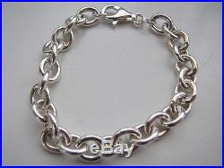 Sterling Silver Oval Link Charm Bracelet 9X7mm Links Solid 925 Made in Italy