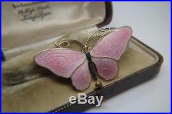 Stunning Antique Marius Hammer Pink Enamel Solid Silver Butterfly Brooch/Pin