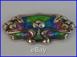 Stunning Art Nouveau Solid Silver & Enamel Brooch c1910