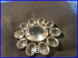 Stunning Edwardian Rare Large Solid Silver & Rock Crystal Brooch