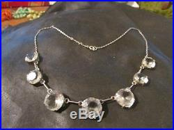 Stunning Edwardian Solid Silver & Rare Rock Crystal Articulated Drop Necklace