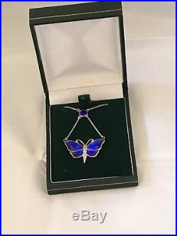 Stunning Solid Silver Charles Horner Butterfly Blue Enamel Necklace c1911