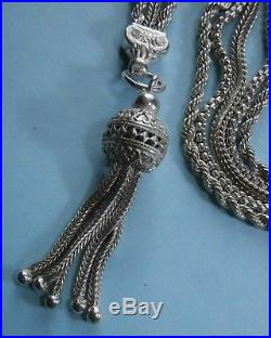 Stunning Solid Silver Ornate Large Albertina Watch Chain