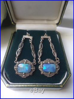 Stunning Vintage Deco Solid Silver Boulder Opal Doublet Drop Pierced Earrings