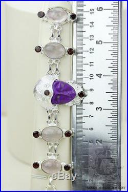 Sugilite Carved Face Madagascar Rose Quartz 925 Solid Silver Bracelet