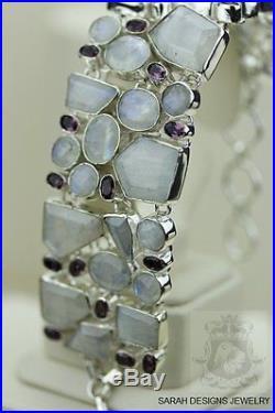 Super Glow! Aaa Grade Faceted Genuine Ceylon Moonstone 925 Solid Silver Bracelet