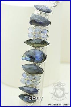 Supreme Grade Canadian Blue Fire Labradorite 925 Solid Silver Bracelet
