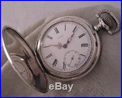 Swiss MEDEA'1890 Antique SOLID SILVER Hunter Pocket Watch Perfect Serviced