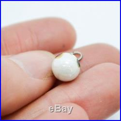 TINY Hallmarked Russian SOLID SILVER & ENAMEL Egg Pendant / Charm Antique