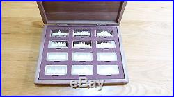 The Birmingham Mint Royal Palaces 12 Solid Sterling Silver Ingots in Walnut Case