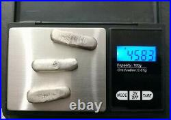 Three Viking Solid Silver Alloy Trade Ingots Over 45g 900AD Metal Detecting Find