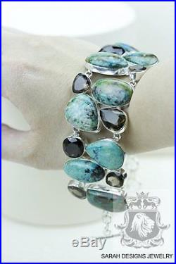 Tibetan TURQUOISE Combined with Azurite Smokey Topaz 925 SOLID SILVER BRACELET