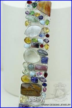 Tiger's Eye Citrine Sodalite Labradorite Amethyst 925 Solid Silver Bracelet