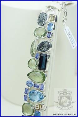 Tourmalated Quartz Prasiolite Auqmarine Iolite 925 Solid Silver Bracelet