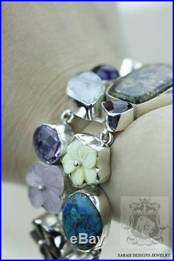 Tourmaline Carved Shell Flower Prasiolite Turquoise 925 Solid Silver Bracelet