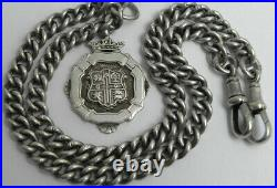 UK Solid Silver Double Albert Pocket necklace Chain 16.8 inches Circa 1900-1940