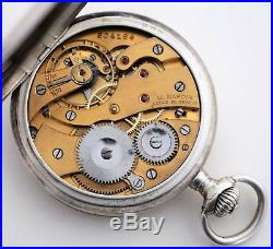 ULYSSE NARDIN POCKET WATCH FULL HUNTER SOLID SILVER 50MM Working Perfectly