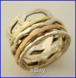 Unique Spinning OPENWORK Ring Solid 925 Silver & Gold