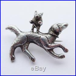 Unusual Antique Victorian Solid Silver Brooch of Dancing Bear Riding a Dog