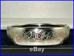 VICTORIAN 9 ct GOLD ON SOLID SILVER HINGED BANGLE BRACELET 23 g EXCELLENT