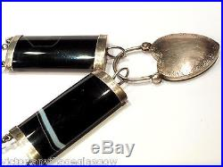VICTORIAN SOLID SILVER SCOTTISH BANDED AGATE NECKLACE. (large agates)