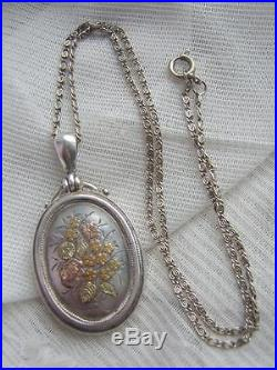 VICTORIAN Solid SILVER Yellow & Rose Gold Floral Photo Locket c1900 & 16.5Chain