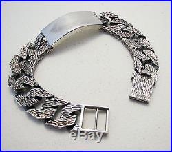VINTAGE 70s Hallmark Solid Sterling Silver Chain Curb ID Mens Gent Bark BRACELET