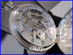 VINTAGE POCKET WATCH Jean Pierre Unitas 6497-1 Skeleton Swiss Made Solid Silver