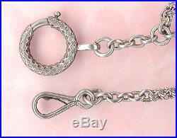 VINTAGE Style Relief SOLID SILVER POCKET WATCH CHAIN 4 SEAL