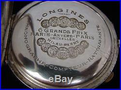 Vtg Super Rare Longines Rattrapante Split Seconds Solid Silver Niello Watch. 1913